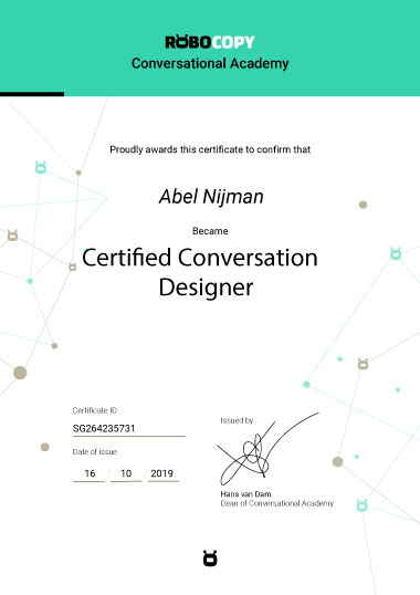 Certified Conversation Designer Diploma by Robocopy Conversational Academy