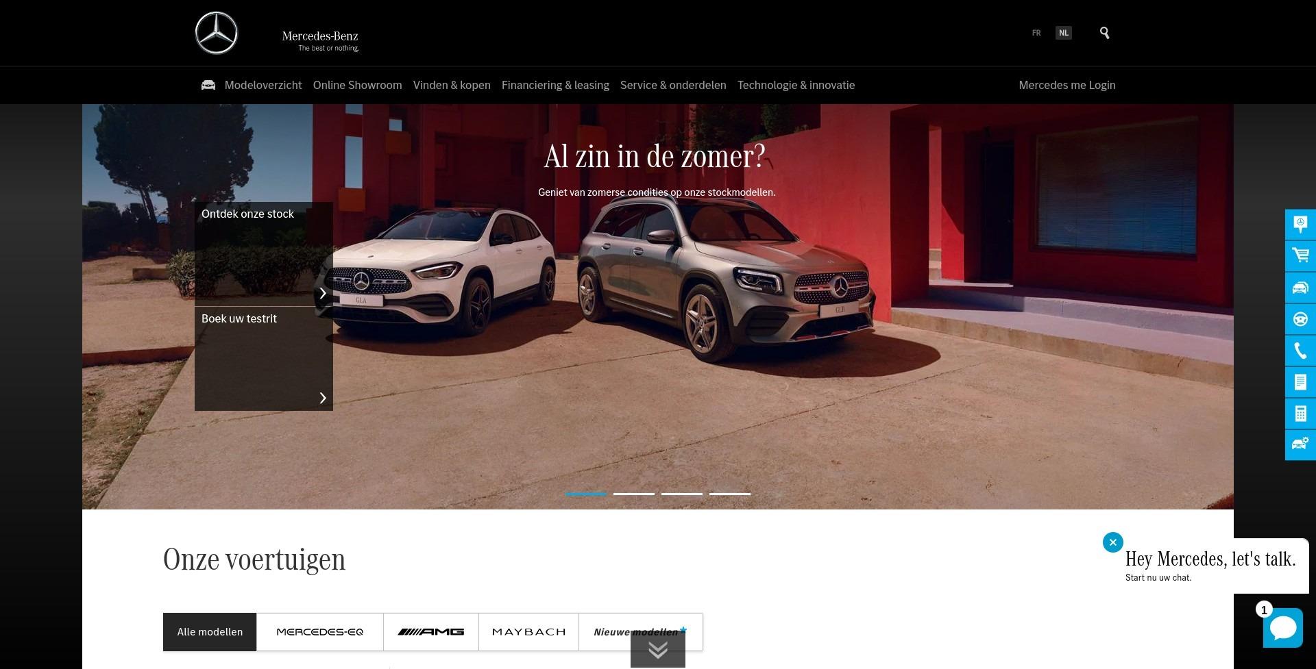 Live chat on Mercedes-Benz Belgium