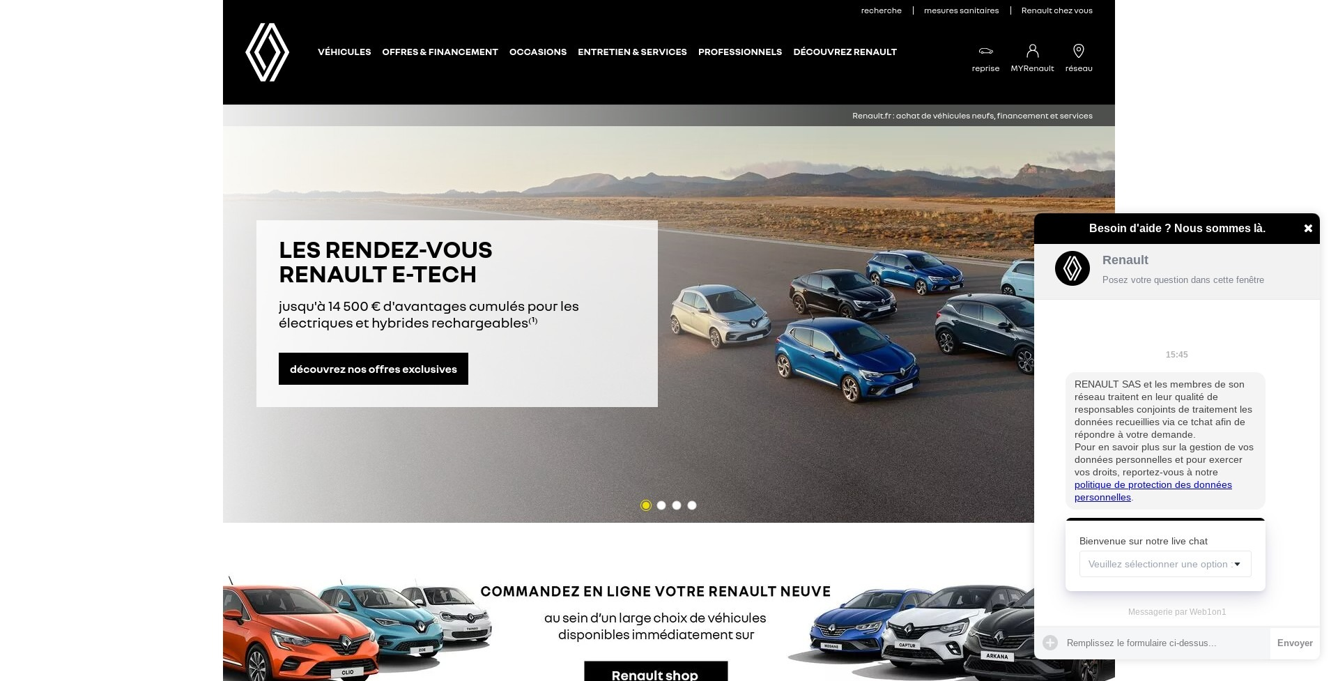 Live chat on Renault France