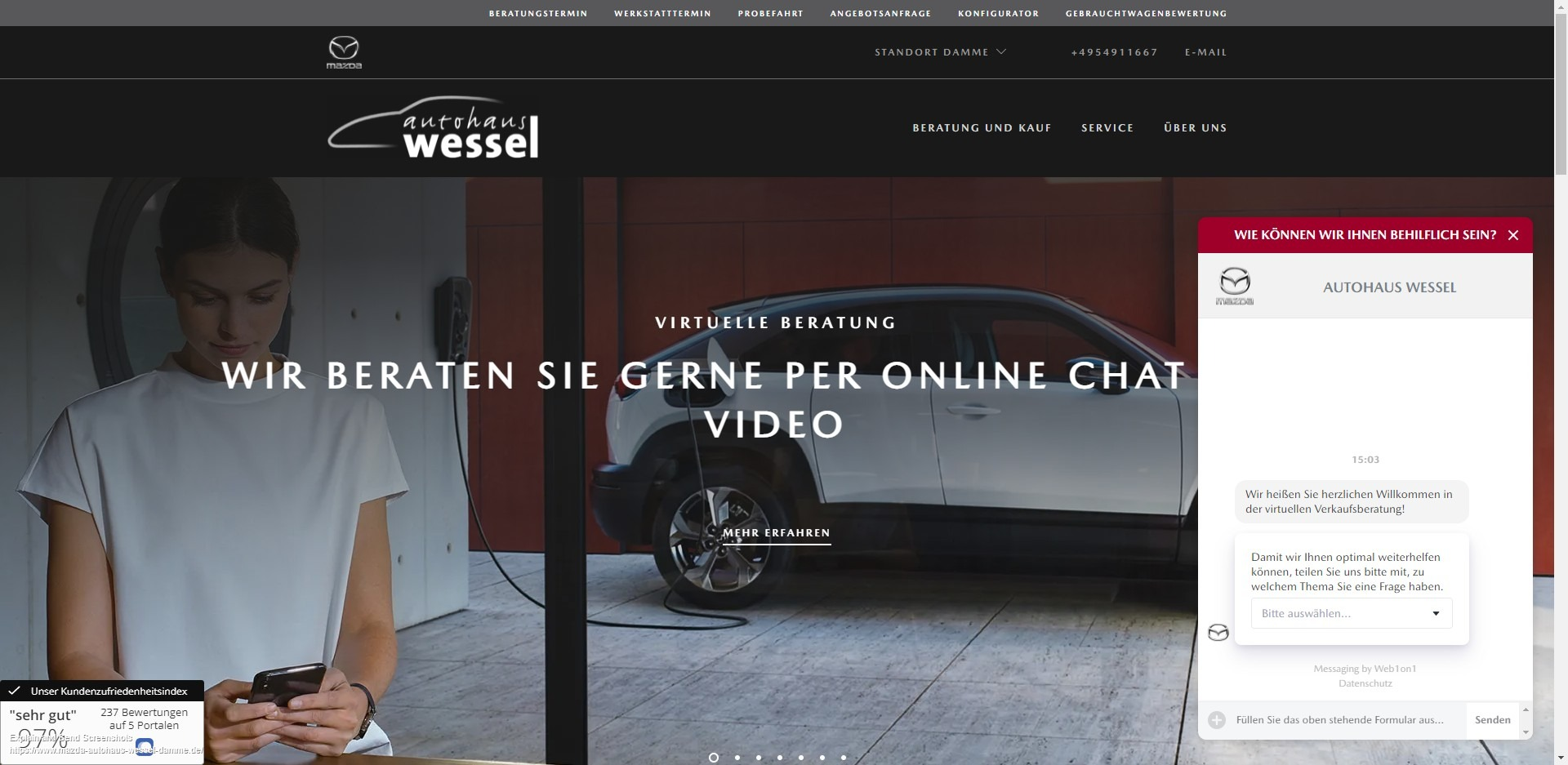 Live chat on German car dealer website